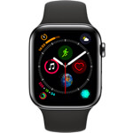 Apple Watch Series 4 4G 44mm aluminium gris sidéral - Bracelet Sport noir