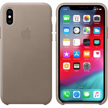 Coque Apple en cuir pour iPhone X Taupe
