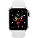 Apple Watch Series 5 4G 40 mm aluminium argent avec Bracelet Sport Blanc