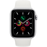Apple Watch Series 5 4G 44 mm aluminium argent avec Bracelet Sport Blanc