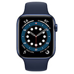 Apple Watch Series 6 4G 44 mm aluminium bleu avec Bracelet Sport marine intense