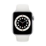 Apple Watch Series 6 4G 44 mm Aluminium Argent avec Bracelet Sport blanc